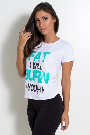 Camiseta Feminina (Fat I Will Burn You) (Branco) | Ref: KS-F704-002
