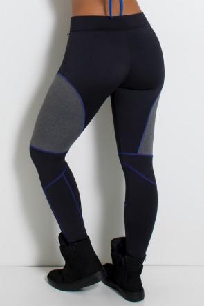 Calça Lisa com Detalhe Mescla e Ponto de Cobertura (Preto / Azul Royal / Mescla) | Ref:F724-002