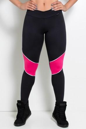 Calça com Vivo e Cós em V (Preto + Branco + Rosa Pink) | Ref: KS-F728-003