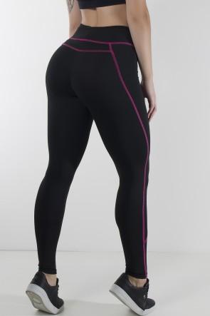 Calça Montaria com Ponto de Cobertura (Preto / Rosa Pink) | Ref: KS-F734-001
