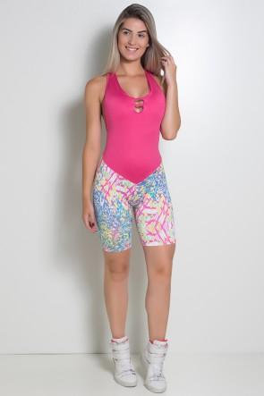 Macaquinho Fitness Letícia (Amarelo com Traços Azul Rosa e Verde / Rosa Pink) | Ref: KS-F74-003