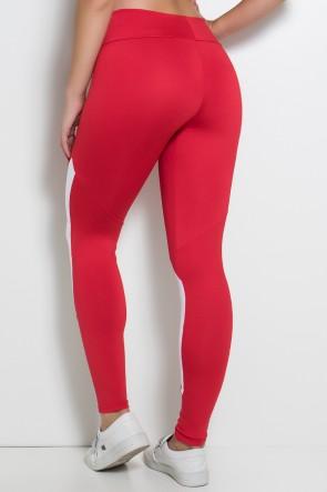 Calça Duas Cores com Cós Duplo (Vermelho / Branco)   Ref: F748-002