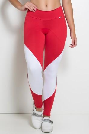 Calça Duas Cores com Cós Duplo (Vermelho / Branco)   Ref: KS-F748-002