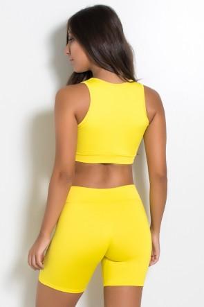 Top Liso com Recorte e Detalhe no Peito (Amarelo) | Ref: KS-F759-006