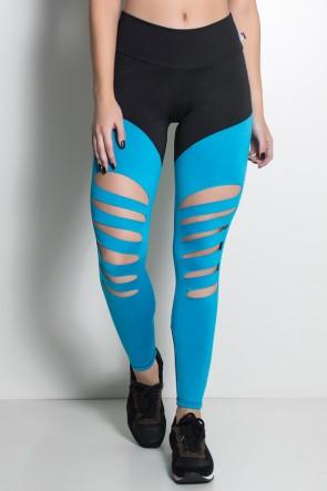Calça Duas Cores Rasgada (Preto / Azul Celeste) | Ref: KS-F773-003