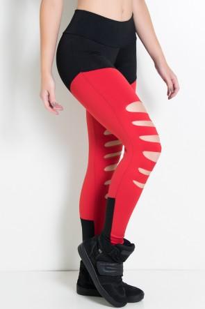 Calça Duas Cores Rasgada (Preto / Vermelho) | Ref: KS-F773-004
