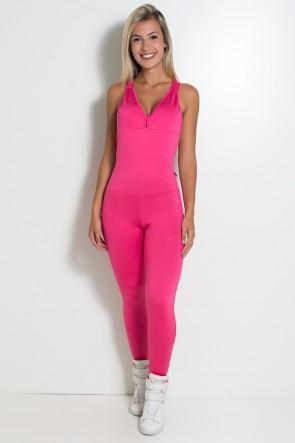 Macacão Fitness Bela Cores Lisas (Rosa Pink) | Ref: KS-F87-004