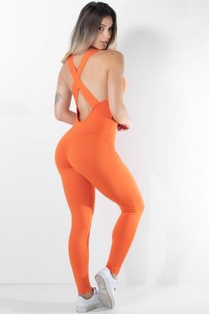 Macacão Fitness Bela Cores Lisas (Laranja) | Ref: KS-F87-007
