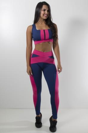 Conjunto Top com Zíper + Calça Duas Cores (Azul Marinho / Rosa Pink) | Ref: KS-F871-001