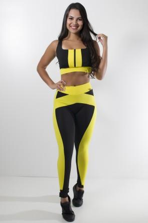 conjunto top com zíper + calça duas cores ( preto \ amarelo)ks-f871-002