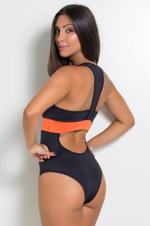 Body Nadador com Faixa Colorida (Preto / Laranja) | Ref: KS-F925-002