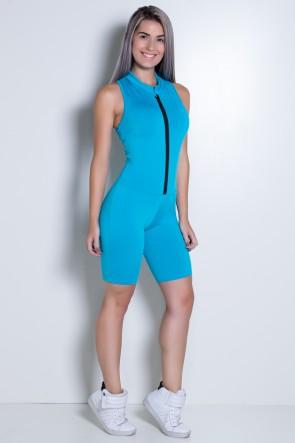 Macaquinho Fitness de Gola e Fecho Cores Lisas (Azul Celeste) | Ref: KS-F93-004