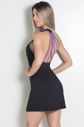 Vestido Preto de Ombro com Tiras | Ref: KS-F960-001