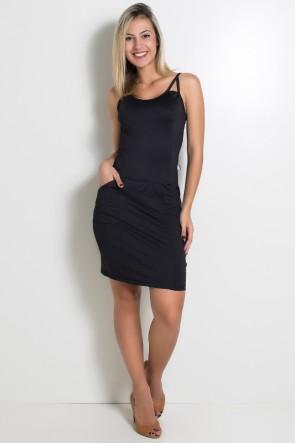 Vestido Preto com Bolso e Recortes | Ref: F979