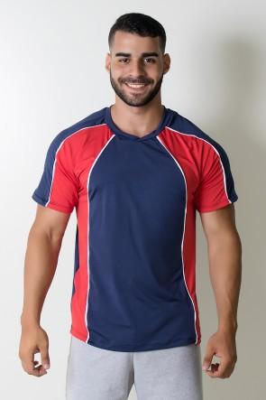 Camiseta de Microlight Duas Cores com Vivo Branco (Azul Marinho / Vermelho) | Ref: KS-H07-001