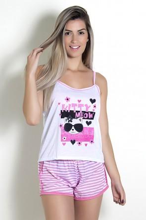Babydoll Feminino 054 (Rosa com gatinha)