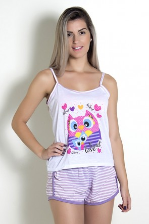 Babydoll Feminino 054 (Lilás com corujas)