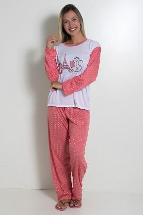 Pijama feminino longo 124 (Salmão)