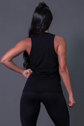 Camiseta Regata de Viscose com Silk (Preto / Branco) | Ref: K2569-A