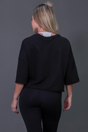 Maxi Cropped Moletinho com Big Silk (Preto / Branco) | Ref: K2571-A