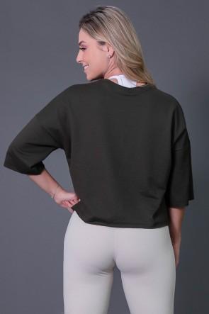 Maxi Cropped Moletinho com Big Silk (Verde Militar / Off-White) | Ref: K2571-B