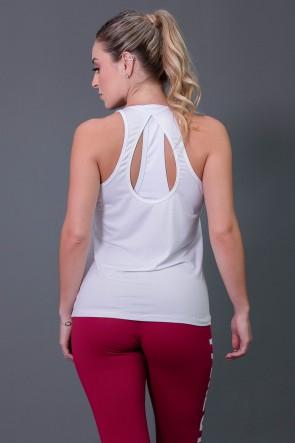 Camiseta Fitness com Detalhe em Gota nas Costas (Brancao) | Ref: K2573-C
