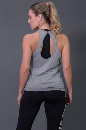 Camiseta Fitness com Detalhe em Gota nas Costas (Mescla) | Ref: K2573-D