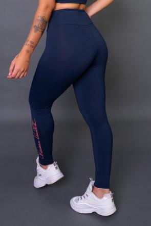 Calça Legging Poliamida com Silk Assinatura Pequena (Azul Marinho / Salmão) | Ref: K2583-B