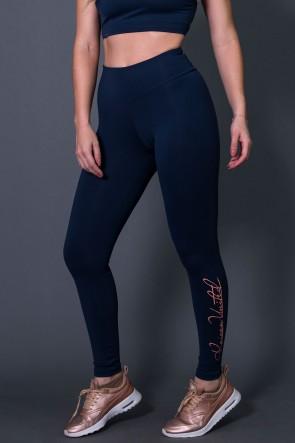 Calça Legging Fitness com Silk Assinatura Pequena (Azul Marinho / Salmão) | Ref: K2583-B