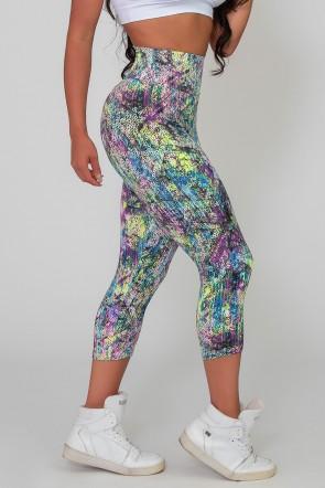 Calça Corsário Estampada (Mosaico E Bolinhas Coloridas) | Ref: K2586-J