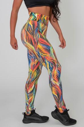 Calça Legging Básica Estampada (Abstrato Fluor 3) | Ref: K2588-C