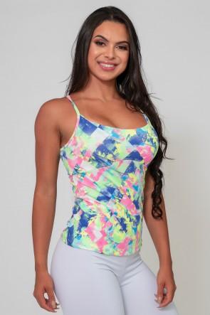 Camiseta de Bojo Duplo Estampada (Losango Azul Rosa e Verde Limão) | Ref: K2589-D