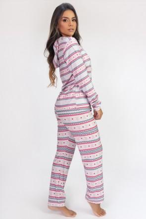 Pijama de Manga Longa com Capuz e Calça Estampa Digital (Winter) | Ref: K2811