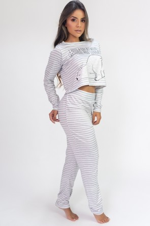 Pijama Cropped de Manga Longa e Calça Estampa Digital (Polar Bear) | Ref: K2816