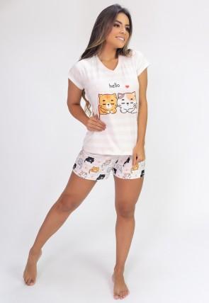 Pijama de Manga Curta e Short Estampa Digital (Kittens) | Ref: K2820