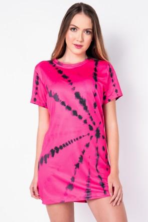 Vestido Estampa Digital Tie Dye (Pink / Preto) | Ref: K2828-J