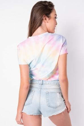 Blusa Básica com Nozinho Estampa Digital Tie Dye (Arco-Íris Claro) | Ref: K2829-C