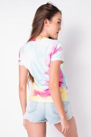 Blusa Básica com Nozinho Estampa Digital Tie Dye (Arco-Íris Forte) | Ref: K2829-D