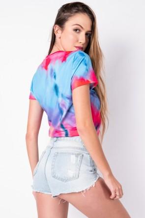 Blusa Básica com Nozinho Estampa Digital Tie Dye (Azul / Amarelo) | Ref: K2829-I