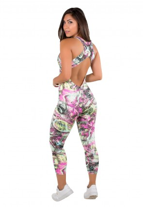 Macacão Fitness Viviane (Azul Rosa e Verde com Riscos Pretos) | Ref: F202-006