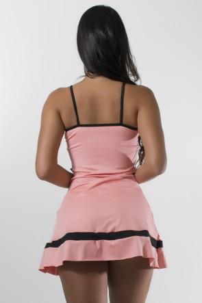Vestido Liso de Alcinha com Faixas e Tiras + Short (Coral Tandy / Preto) | Ref: KS-F2028-001