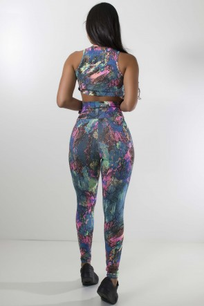 Conjunto Cropped e Legging Estampada (Escama Colorida 3) | Ref: KS-F816-014