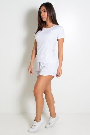 Conjunto Camisa + Short de Microlight (Branco) | Ref: KS-F861-003