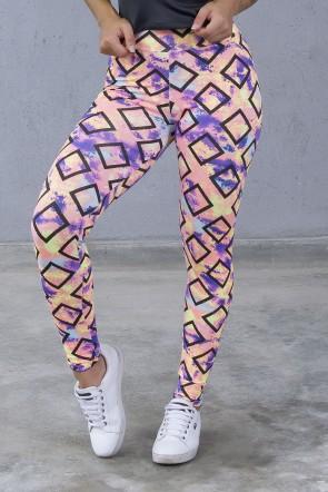 Legging Estampada (Quadrados com Manchas Coloridas) | Ref: KS-F27-120