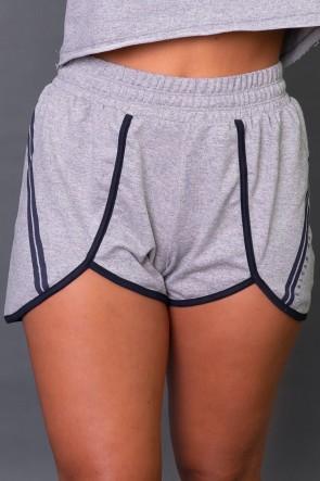 Short Fitness com Silk Listras (Mescla / Azul Marinho) | Ref: K2581-B