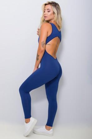 Macacão Fitness Carol Cores Lisas (Azul Marinho) | Ref: KS-F28-003