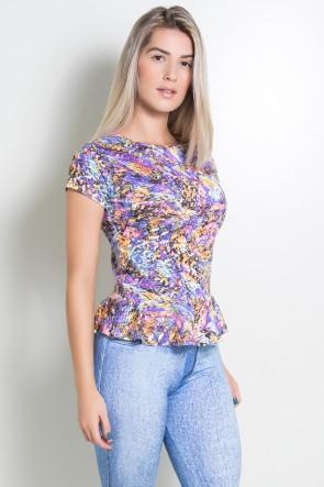 Blusa Estampada com Babado | Ref: F697