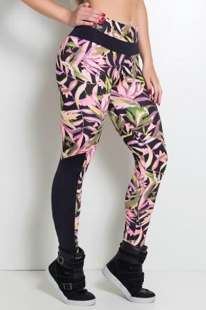 Calça Estampada com Detalhe Liso Grazi (Preto com Folhas Verdes e Rosa Fluor / Preto) | Ref: KS-F251-001
