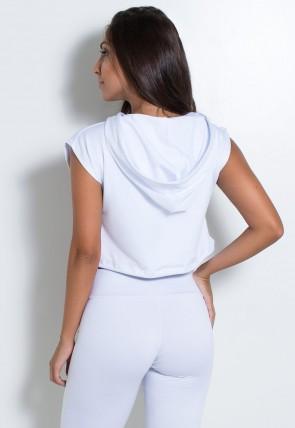 Mini Blusa com Capuz e Silk (Branco / Preto) | Ref: KS-F2135-001