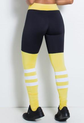 Calça Três Cores com Faixas na Perna (Preto / Amarelo Claro / Branco) | Ref:F2146-001